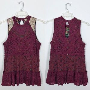 Gimmicks By BKE Floral Sequin Lace Maroon Tank L